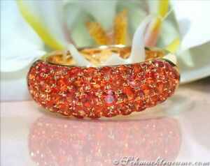Wahre Farbenpracht: Exquisiter Orange Saphir Pavé Ring | 3,65 ct. | Gelbgold 585