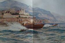 Race boats off Monaco...Chromolithograph....1908