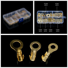 150Pcs Insulated Ring Terminals Wire Crimp Connectors Brass Electrical Kit w/Box