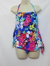 NWT Swim Solutions One Piece Faux Tankini Swimdress Floral Print Size 10