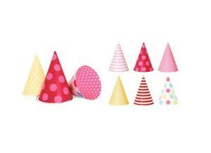 Pink Paper Party Hats Mixed stripe polka dot SET 12 pcs