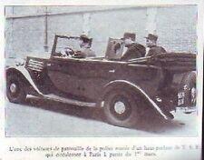1936  --  VOITURE DE PATROUILLE DE POLICE A PARIS AVEC HAUT PARLEUR TSF  £558