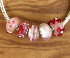 5 x Beads Sterlingsilber und Glasperle *** AUS ECHTEM SILBER und Glas, pink