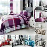 Check Print Duvet Cover Set With Pillowcase Single Double Super King Size Quilt