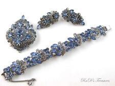 Vintage JULIANA D&E Baby Blue Rhinestone Filigree Bracelet Brooch & Earrings SET