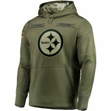 2020 Men's Pittsburgh Steelers Olive Salute to Service Sideline Therma Hoodie