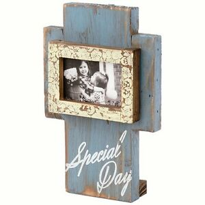 "SPECIAL DAY Wood Free-Standing Pedestal Photo Frame Cross, 7"" Tall, by Carson"