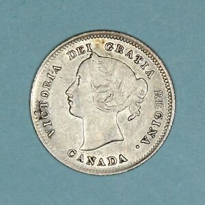 1900 Canada 5 Cents silver coin round Os, VF/XF details, KM# 2