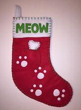 Christmas Stocking for Kitty,Cat Kitten Pet Felt Meow Paws Removable Doggie Bone