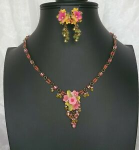Stunning Colleen Toland Pink Floral Bouquet Necklace With Matching Earrings