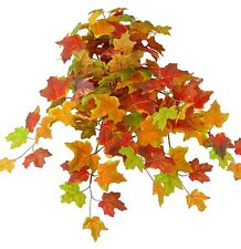 Artificial Maple Leaf Hanging Fall Bush Plant Spray Fall Autumn Harvest Floral