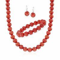 10mm Carnelian Set: Beaded Necklace, Bracelet & Earrings in Sterling Silver