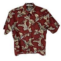 Pierre Cardin Mens Hawaiian Shirt Button Up Camp Floral Red Size XL Short Sleeve