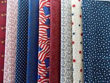 "Patriotic Red White Blue Fabric 30 Piece Layer Cake 10"" Fabric Squares Cotton"