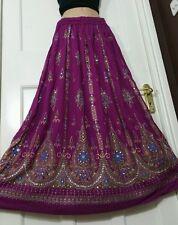 Ladies Indian Boho Hippie Long Sequin Skirt Rayon Gypsy Dance Party DARK PURPLE