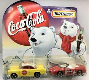 Matchbox Coca-Cola Dad & Son Chevy Set *55 Belair & 98 Camaro * 1:64