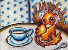 Teacup PHOENIX in the Kitchen Original 9x12 Pastel Painting Flames Halloween