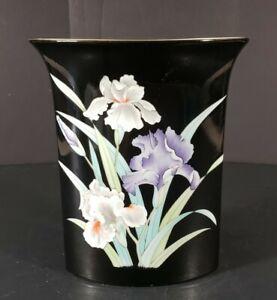 "Black Vase Japan Yama Ji White Purple Iris 6"" Tall Home Decor"