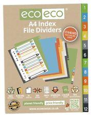 4 Sets X 12pk Eco-Eco A4 50% de plástico reciclado carpeta de archivo índice divisores