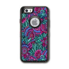 Skin Decal for Otterbox Defender iPhone 6 Case / Floral Flowers Retro