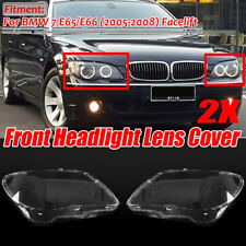 2x Headlight Plastic Headlamp Lens Cover For BMW 7 E65 / E66 LCI 2005-2008 L &