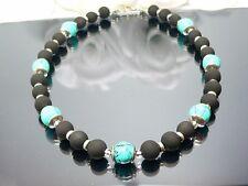 KETTE   SPIRAL Glasperle marmoriert türkis Perle schwarz 448h