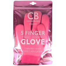 Cocoa Brown 5 Finger Velvet Tanning Glove Fake Tan Mitt Applicator Double Sided
