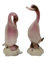Cenedese Signed Murano Italy Scavo Pink Cased Ducks With Original Paper Labels
