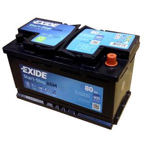 Exide AGM Start-Stop--Battery EK800 En (A): 800 12V 80AH Newest Model 2014/15