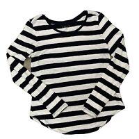 Ann Taylor LOFT Women's Sweater Navy Blue White Striped Long Sleeve Size Medium