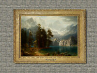 Old Master Art Waterfall Landscape Oil Painting Mountain River Unframed 30x40