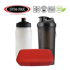 1x Protein Shaker, 1 x Water Bottle And Pill Case