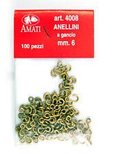 Amati 4008 Anellini a Gancio 6 mm (100) Brass Rings w. Hooks modellismo