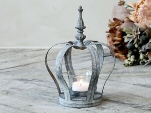Antique Zinc Glass Crown Tea Light Candle Holder, Grey Silver Metal Rustic Decor