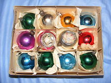 Vintage Glass Christmas Decoration Baubles In Box 2 Concave
