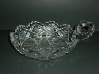 Vintage Cut Glass Candy Dish with Finger Loop Handle Scalloped Sawtooth Rim 6""
