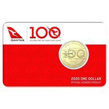 AUSTRALIA 2020 $1 QANTAS 100 YEARS COIN UNC in CARD #1 WORLD'S SAFEST AIRLINE