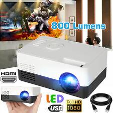 Portable 1080p Full HD LED Mini Projector Smart Home Theater Cinema HDMI AV USB