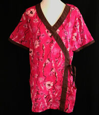 Pink Scrub Top Womens L Health Pro Floral Poppies Embroidered V Neck Stylish