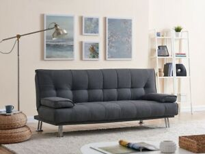 Fabric Sofa Bed 3 Seater Charcoal Tufted Padded Chrome Legs Sofabed Recliner