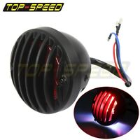 Black Aluminum Round Motorcycle Tail Brake Light Custom For Harley Cafe Racer