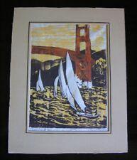 """Vtg Woodcut by Lori Waterman """"The Golden Gate"""" Bridge w/ Sailboats Block Print"""