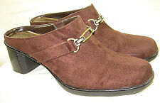 White Stag Patty Brown Suede Clogs Mules Gold Buckle High Heel Women Shoes 9 EUC