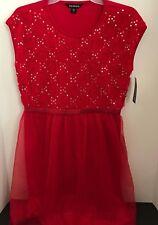 George Girls Red Sequin Sleeveless Tutu Dress Holiday Christmas XL 14/16