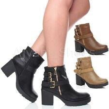 Block Heel Zip Combat Boots for Women
