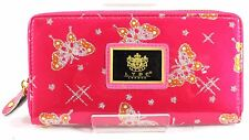 Ladies LYDC London Patent Leather Butterfly Print Glitter Purse Clutch Red