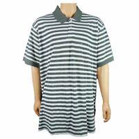 Basic Editions Mens Big & Tall Classic Fit Polo Shirt Gray White Stripe 3XLT New
