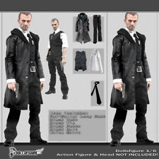 "1/6 Scale Male Black Leather Coat Suit Clothing Set For 12"" Body Hot Toys"