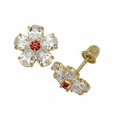 Baby Girl's Garnet & Created Diamond Flower Shape Stud Earrings 14K Yellow Gold