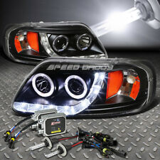 BLACK DUAL HALO PROJECTOR+LED 1PC HEADLIGHT+6000K HID FOR 97-03 F150/EXPEDITION